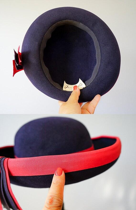 Vintage Wool Felt Breton Hat, Women Bowler Hat, V… - image 10