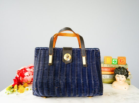 Vintage Wicker Purse with Leather/ 1950s-60s Bag/
