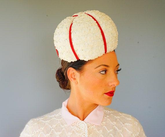 Vintage Straw Bubble Hat Neiman Marcus Hat Vintage Pillbox  0ed6a8959e49