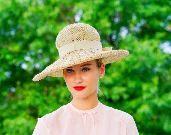 Vintage Straw Floppy Hat, Wide Brim Hat, Vintage H
