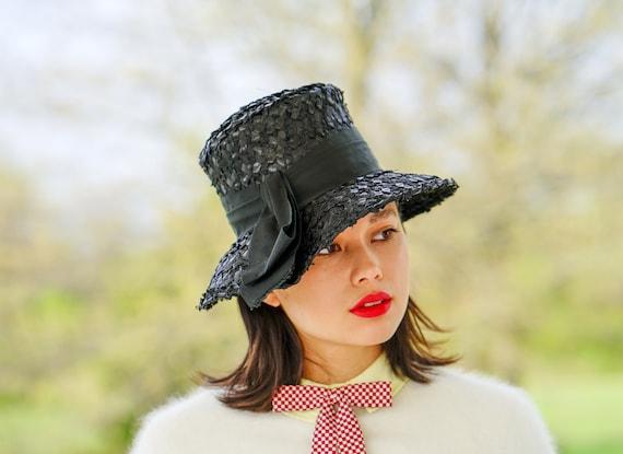 Vintage Straw Bucket Hat, Cloche Hat, 1950s-60s H… - image 1