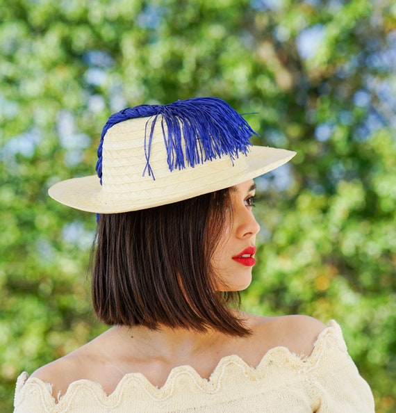Vintage Straw Boater Pigtail Hat with Hat Box, No… - image 3