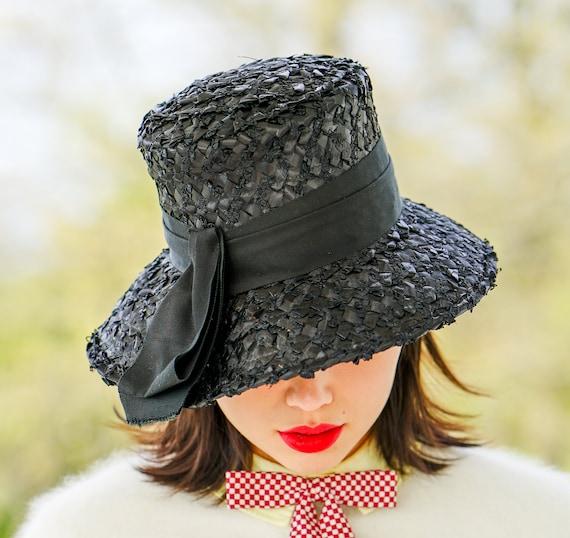 Vintage Straw Bucket Hat, Cloche Hat, 1950s-60s H… - image 3