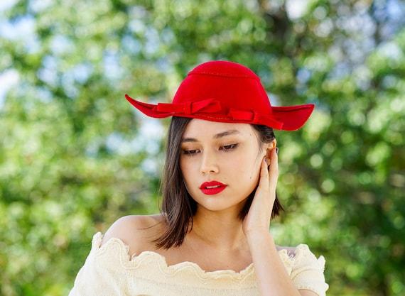 Vintage Wool Tilt Hat New York Creation, Half Hat,