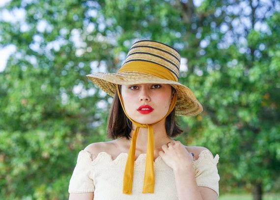 Vintage Straw Sun Hat, 1940-50s Hat, Vintage Beach