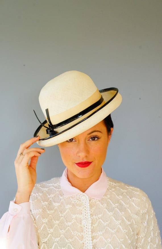 Vintage Straw Bowler Hat Vintage Breton Hat 1960s Hat  44c01f66a30e
