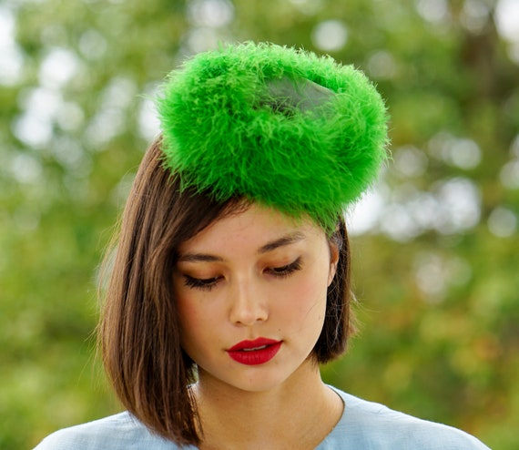 Vintage Marabou Feather Hat Hand Muff Set, 1950s … - image 4