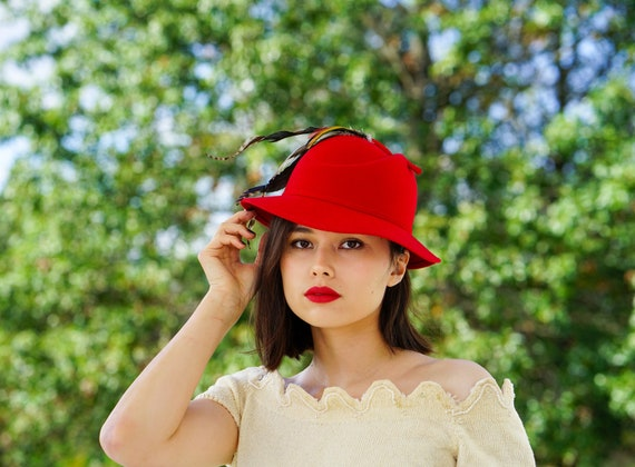 Vintage Wool Feather Homburg Hat, Fedora Hat, Vint