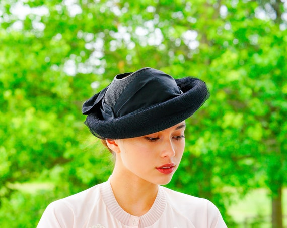 Vintage Straw Bowler Hat, 1960s Hat, Vintage Hat,