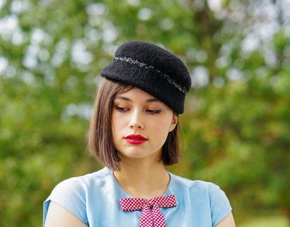 Vintage Wool Sequin Bucket Hat, Cloche Hat, 1950s-
