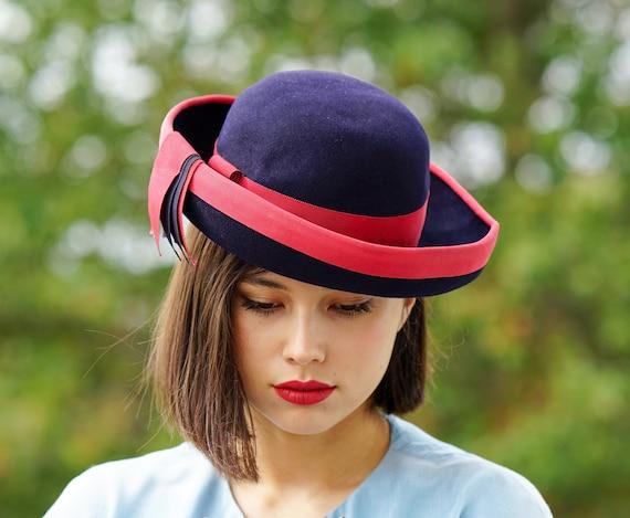 Vintage Wool Felt Breton Hat, Women Bowler Hat, V… - image 3