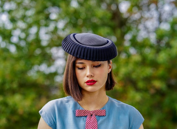 Vintage Mini Cartwheel Hat, Tilt Hat, Saucer Hat,