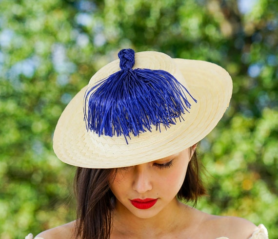 Vintage Straw Boater Pigtail Hat with Hat Box, No… - image 4