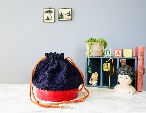 Vintage 1940s Crochet Drawstring Purse/ Vintage Pu