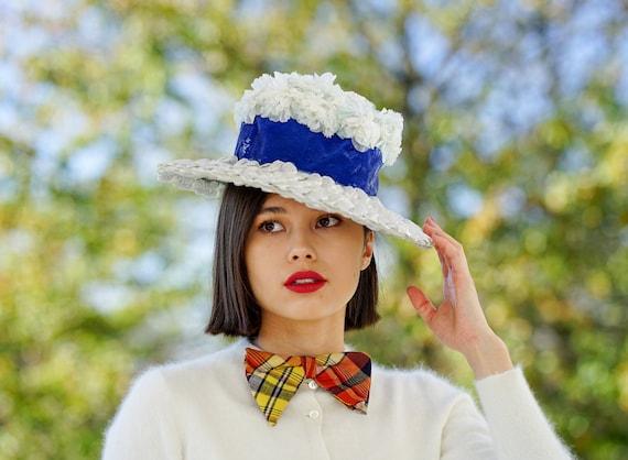 Kentucky Derby Hat Cartwheel Hat Tea Party Hat Brim Hat Sun Hat Vintage Black Straw Tilt Hat Vintage Millinery Vintage Hat 1940s Hat