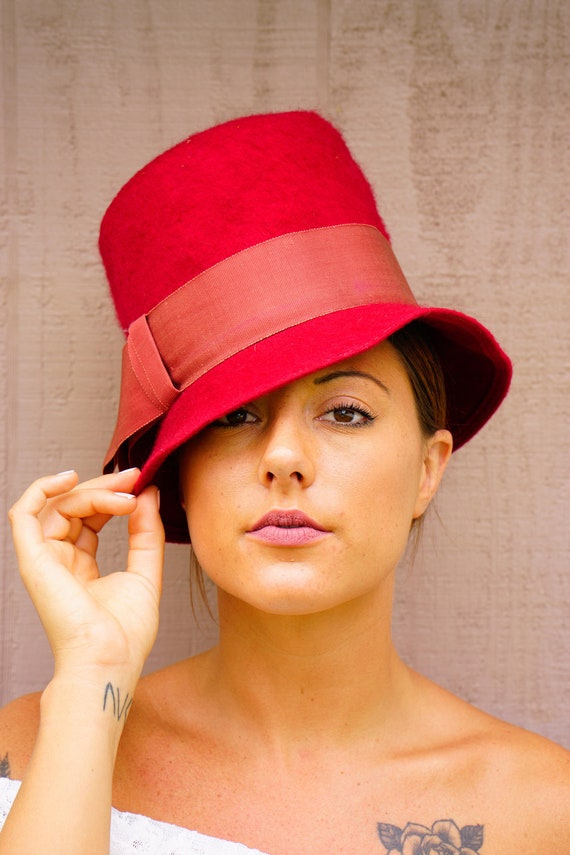 Cappello dell annata cappello Vintage Mod 1960s Hat  ad5c3ccc761d