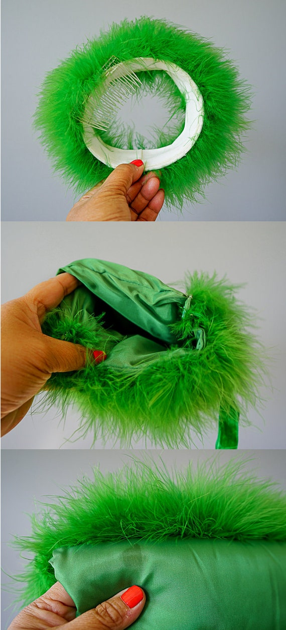 Vintage Marabou Feather Hat Hand Muff Set, 1950s … - image 10