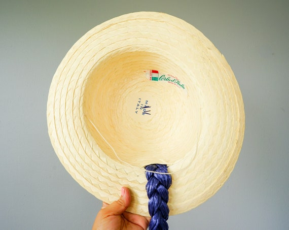 Vintage Straw Boater Pigtail Hat with Hat Box, No… - image 9