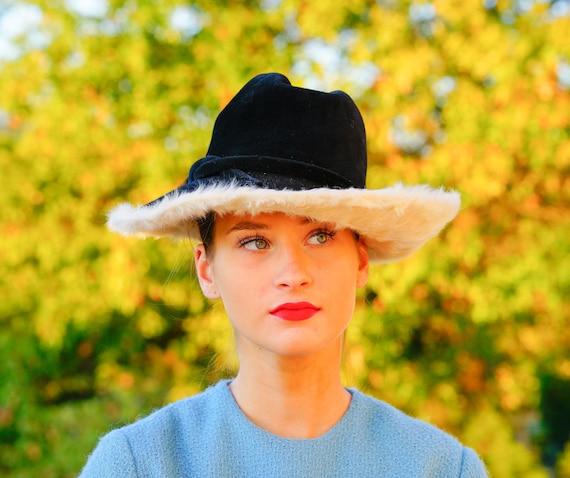 Vintage Fur Felted Wool Fedora Hat, Winter Fur Hat