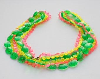 Vintage Neon Bead Necklace/ Vintage Jewelry/ Vintage Necklace/ 1960s Necklace/ 60s Plastic Necklace/ Multi Strand Necklace/ Jewelry/ Flapper