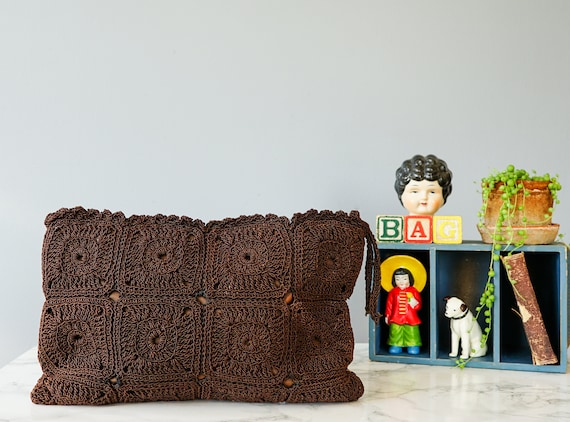 Vintage Crochet Corde Clutch Purse/ 1940s Purse/ C
