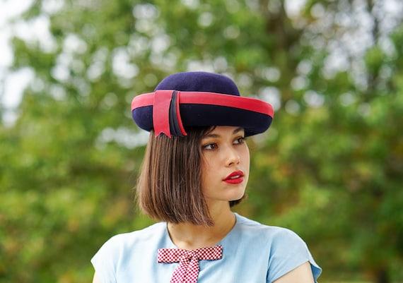 Vintage Wool Felt Breton Hat, Women Bowler Hat, V… - image 1