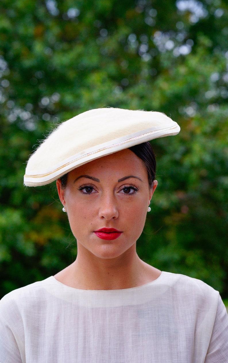 5884762909ec9 Vintage Fur Felt Cartwheel Hat Saucer Hat 1940s Hat 1950s