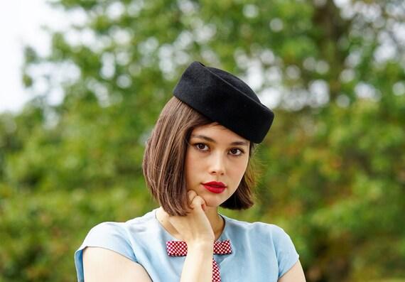 Vintage Black Wool Felt Pillbox Hat Betmar, Half H