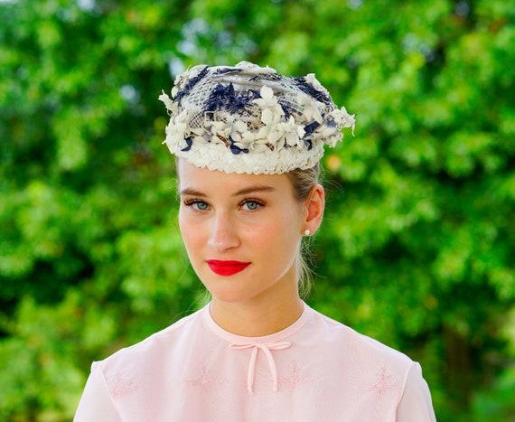 Vintage Floral and straw Half Hat, Halo Hat, Vinta