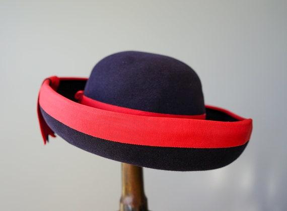 Vintage Wool Felt Breton Hat, Women Bowler Hat, V… - image 7