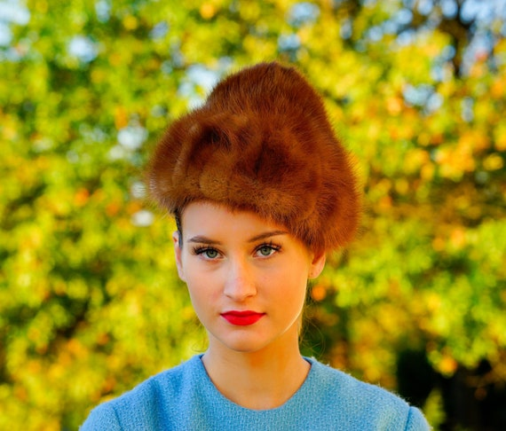 Vintage Fur Cloche-Coolie Hat, Dome Hat, 1950s-60s