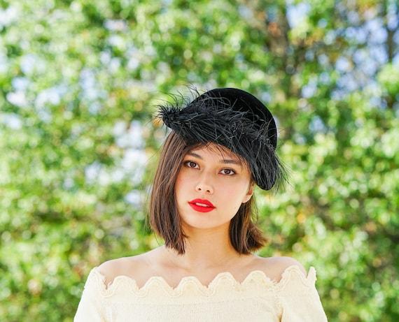 Vintage Feather Half Hat, Tilt Hat, Vintage Hats,