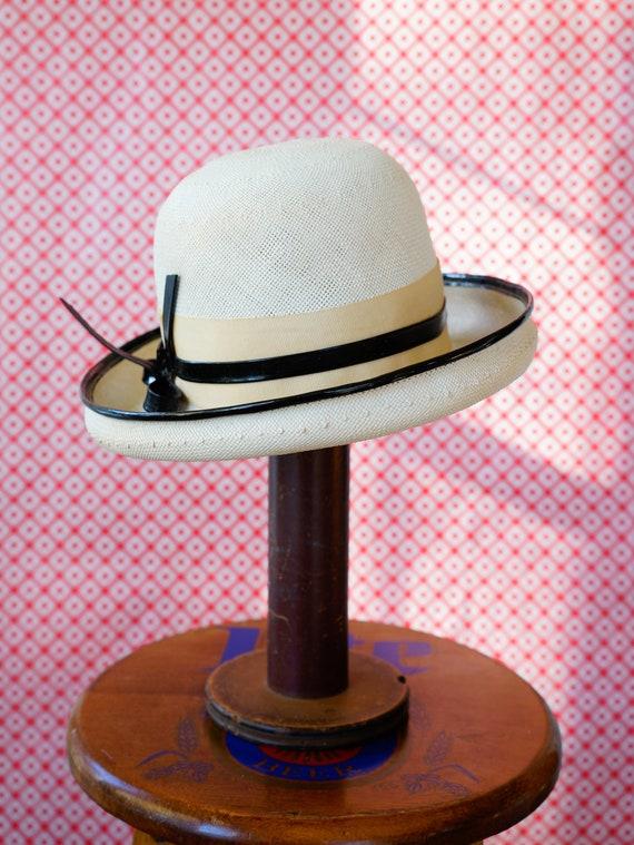 51a48d1e8605d Vintage Straw Bowler Hat Vintage Breton Hat 1960s Hat