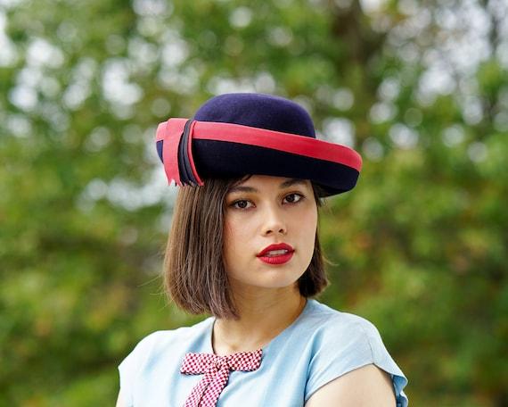 Vintage Wool Felt Breton Hat, Women Bowler Hat, V… - image 4