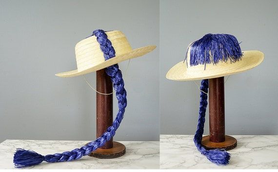 Vintage Straw Boater Pigtail Hat with Hat Box, No… - image 6