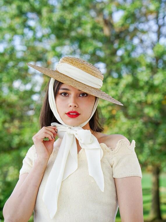 Vintage Straw Boater Scarf Hat, Sun Hat, Vintage H