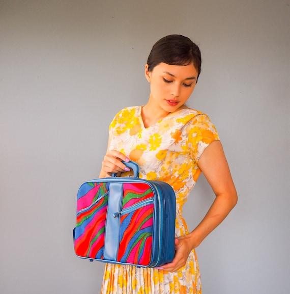 Vintage 1970s Fabric Mini Suitcase/ Carry on Lugga