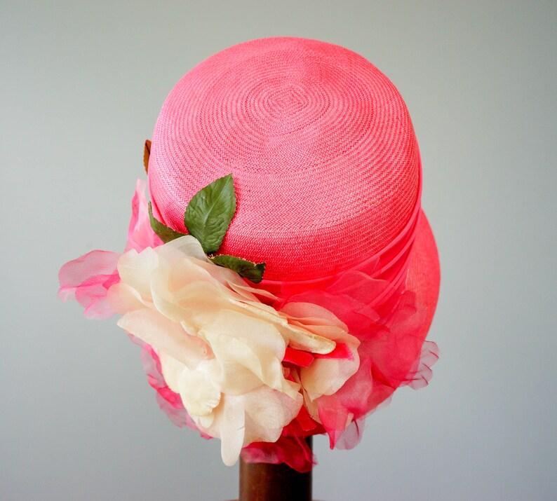 Vintage Hat 1950s 60s Hat Church Hat Kentucky Derby Hat Wedding Hat Vintage Straw Cloche Hat with Flower Bucket Hat Vintage Millinery