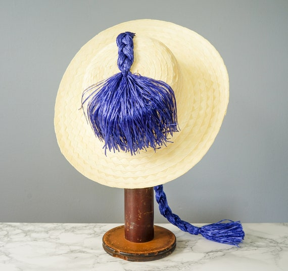 Vintage Straw Boater Pigtail Hat with Hat Box, No… - image 8