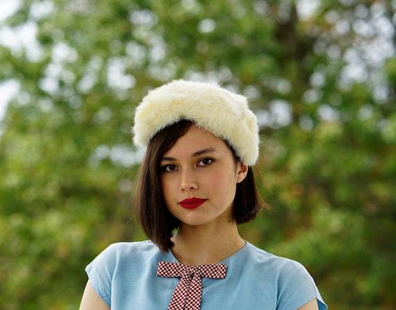 Vintage Fur Headband Hat with Head, Fur Hat, Vinta
