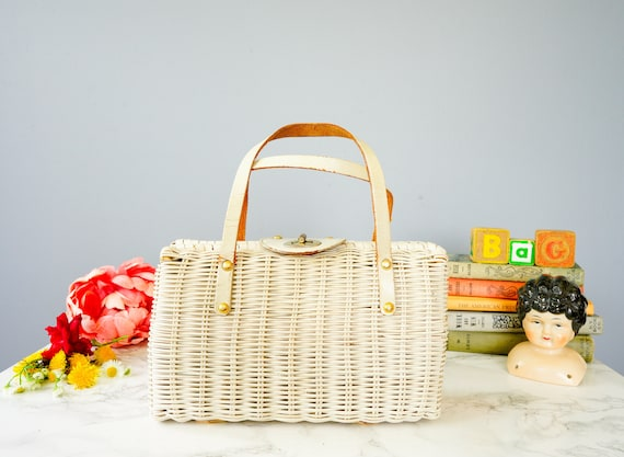 Vintage Wicker Leather Purse/ 1950s-60s Bag/ Woven