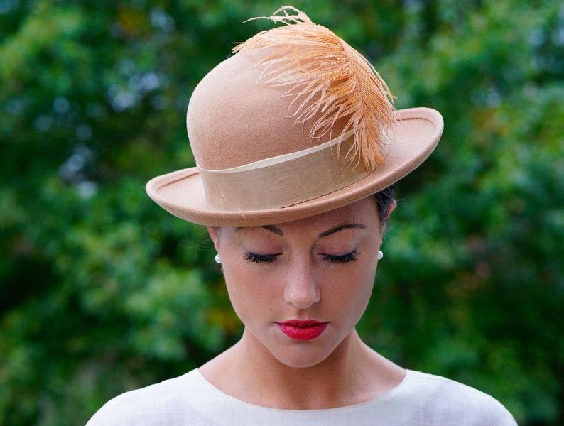 Vintage Wool Bowler Hat with Feather Doeskin Felt Hat  02dd30edd13b