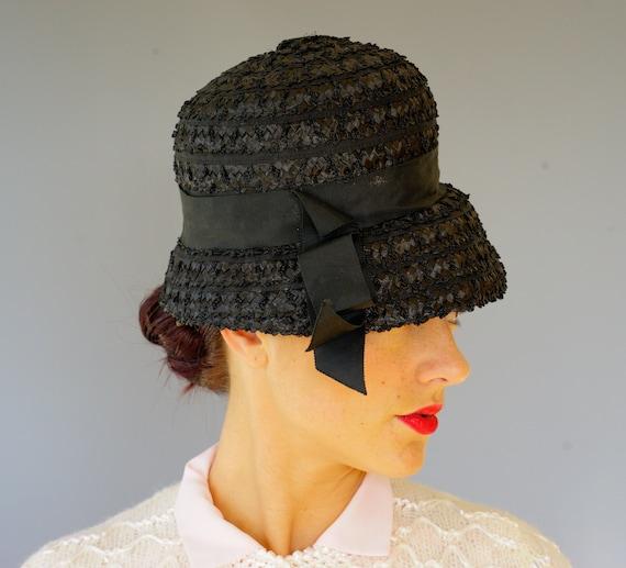 Tea Party Hat Vintage Straw Bucket Hat Summer Hat Cloche Hat Wedding Hat Mod Hat 1950s-1960s Hat Vintage Hat Vintage Millinery