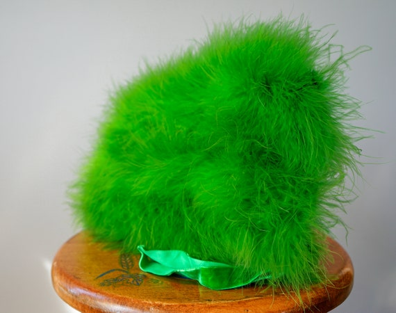 Vintage Marabou Feather Hat Hand Muff Set, 1950s … - image 9