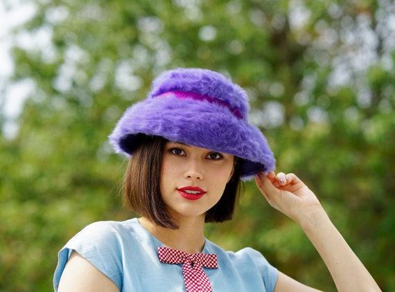 Vintage Violet Ribbit Fur Bucket Hat, Mushroom Hat