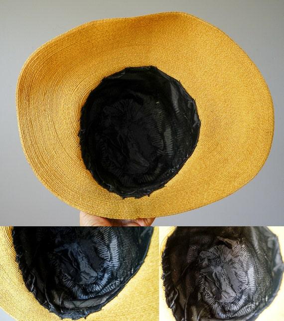 Vintage Straw Boater Hat, 1930s-1940s Hat, Vintag… - image 9