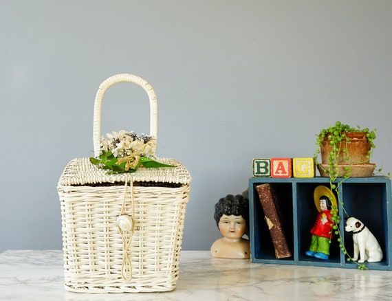 Vintage Floral Wicker Basket Purse by Ritter/ Vint