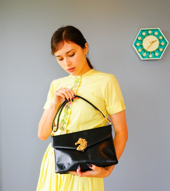 Vintage Leather Top Handle Bag/ 1950s-60s Purse/ V