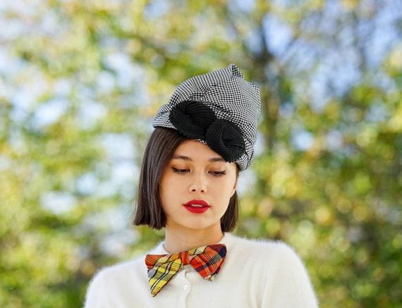 Vintage Gingham Turban Hat, Vintage Hat, 1940s-50s