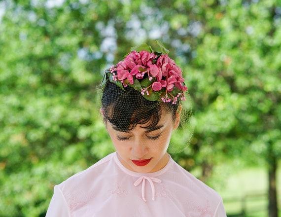 Vintage Floral Veil Half Hat, 1950s Hat, Whimsy Ha